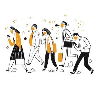 Wiele osób codziennie korzysta. chodzenie, maski higieniczne