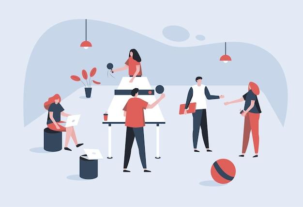Wiele osób wykonuje czynności biurowe. jeden mężczyzna i kobieta grają ze sobą. inny pracuje w biurze i jeden człowiek, wonman dyskutuje na jakiś temat. ilustracja w stylu kreskówki.