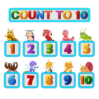 Wiele owadów i liczb od jednego do dziesięciu