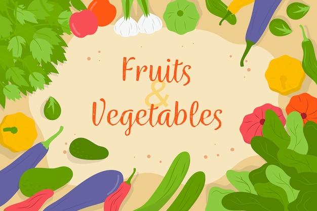Wiele owoców i warzyw w tle
