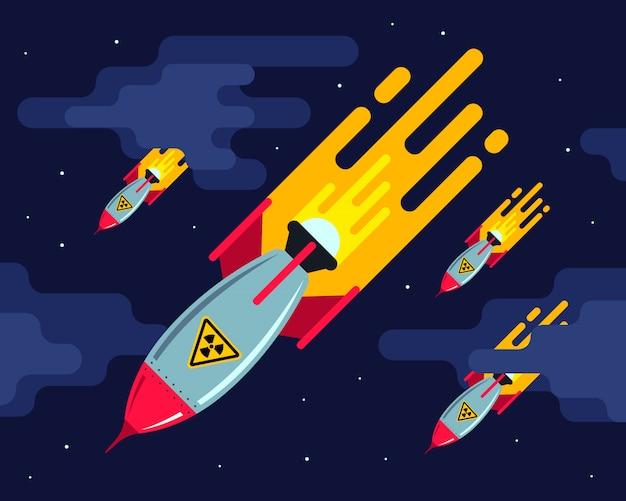Wiele pocisków nuklearnych na nocnym niebie. agresywny atak. trzecia wojna światowa. płaska ilustracja