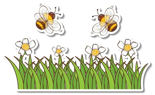 Wiele pszczół miodnych latających nad naklejką na polu trawy