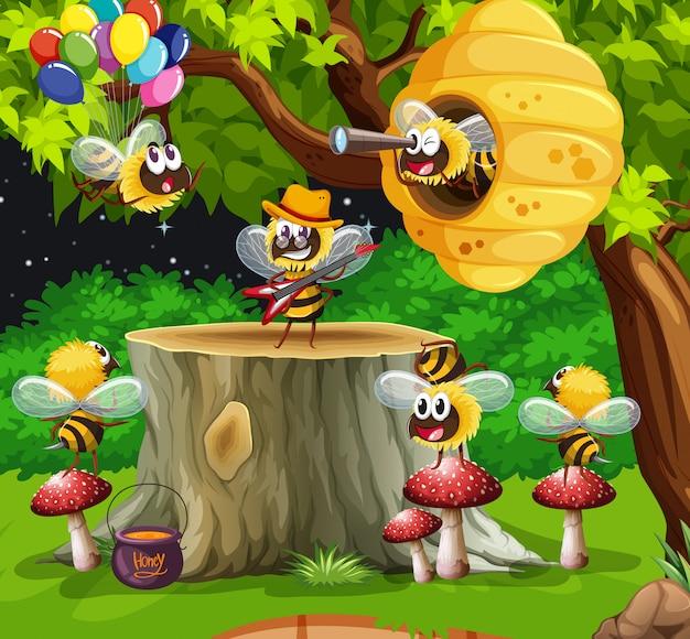 Wiele pszczół żyje na scenie ogrodowej z plastrem miodu