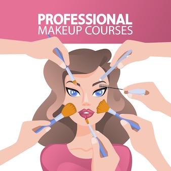 Wiele rąk robi makijaż dla ładnej pani