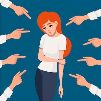 Wiele rąk wskazujących smutną rudowłosą zdenerwowaną kobietę patrzącą w dół płaskiej ilustracji wektorowych