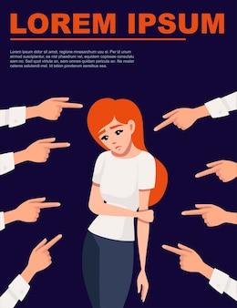 Wiele rąk wskazuje smutną rudowłosą zdenerwowaną kobietę patrzącą w dół ilustracji wektorowych na ciemnym tle