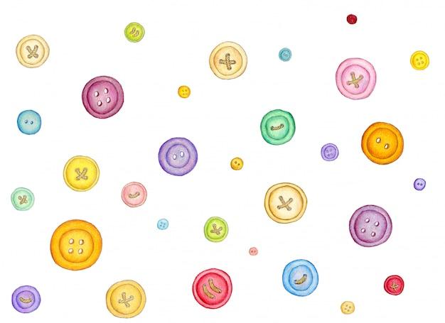 Wiele różnych kolorowych przycisków do szycia na białym tle