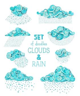 Wiele różnych kreskówek ozdobnych chmur i kropli deszczu na białym tle.
