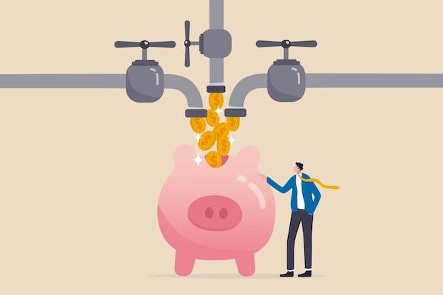 Wiele strumieni dochodów, dochodów pasywnych lub przychodów z inwestycji w wiele aktywów, poboczne starania, aby zarabiać pieniądze, bogaty biznesmen stojący z wieloma przepływami pieniężnymi z rury do bogatej skarbonki.