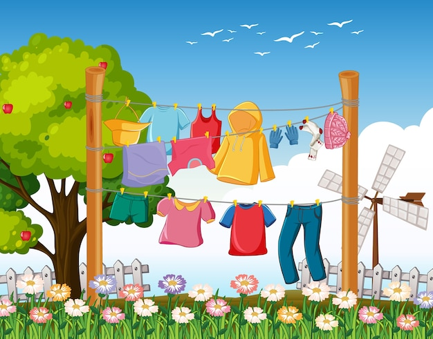Wiele ubrań wiszących na linii na zewnątrz
