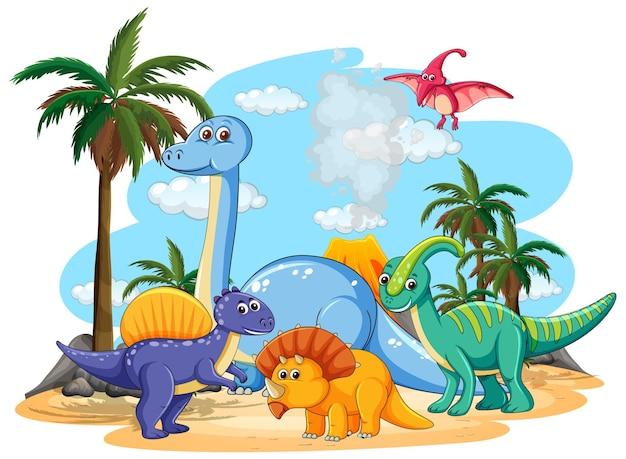 Wiele uroczych postaci dinozaurów w prehistorycznej krainie na białym tle