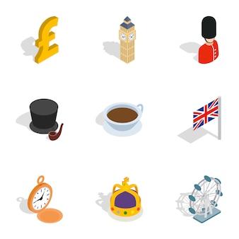 Wielka brytania ikony, izometryczny styl 3d