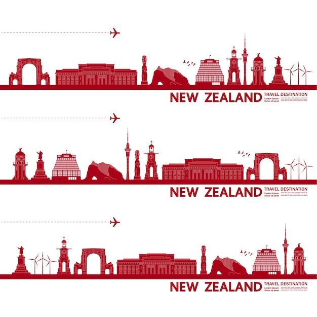 Wielka ilustracja cel podróży w nowej zelandii.