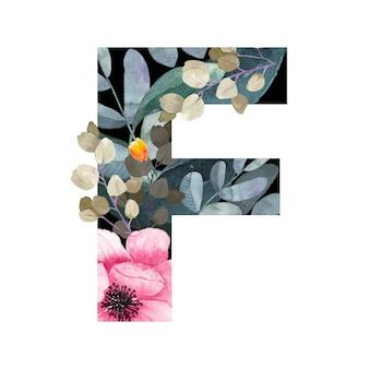 Wielka litera f. kwiatowy styl. z kwiatami i liśćmi roślin.