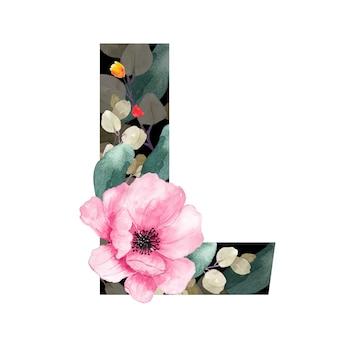 Wielka litera l. kwiatowy styl. z kwiatami i liśćmi roślin.