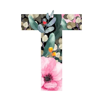 Wielka litera t kwiatowy styl z kwiatami i liśćmi roślin