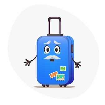 Wielka niebieska walizka na kółkach i stemple pocztowe na plastikowym korpusie płaczą, że nie mogą podróżować