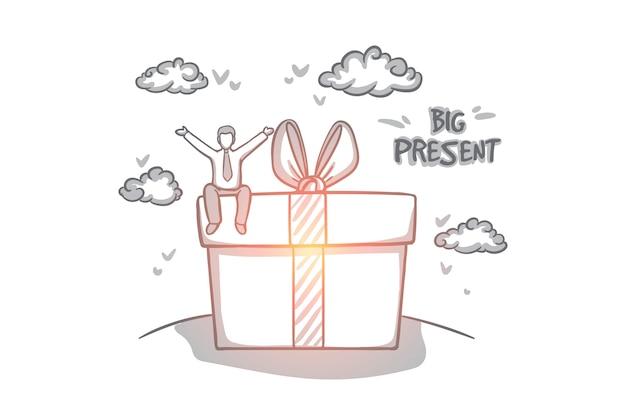 Wielka obecna koncepcja. ręcznie rysowane mężczyzna siedzi na dużym pudełku z teraźniejszością. szczęśliwa osoba dostaje ogromny prezent na białym tle ilustracji.
