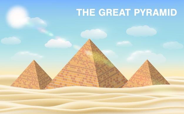 Wielka piramida w gizie na pustyni