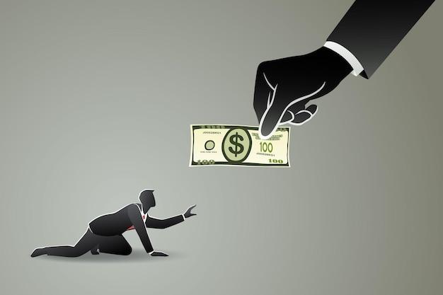 Wielka ręka daje pieniądze bezradnemu biznesmenowi