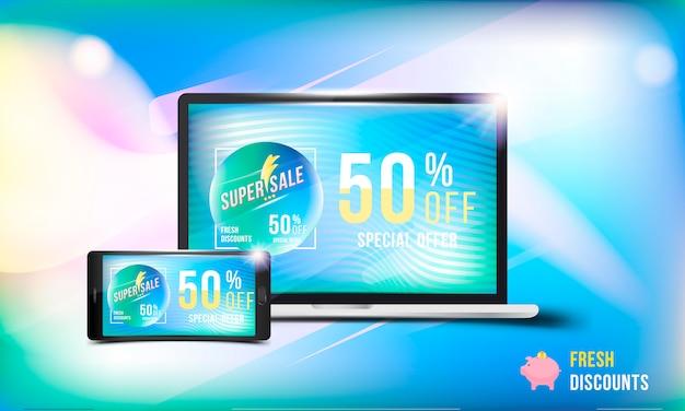 Wielka wyprzedaż 50% oferuje świeżą zniżkę. pojęcie reklamy z laptopem i smartfonem oraz baner z super rabatami