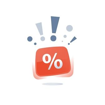 Wielka wyprzedaż, czerwony przycisk znak procentu, etykieta sklepu dyskontowego