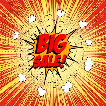 Wielka wyprzedaż!!! fraza w stylu komiksowym na tle sunburst. element ulotki, plakatu. ilustracja.