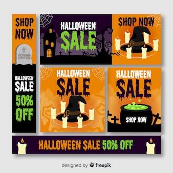 Wielka wyprzedaż halloween oferuje baner internetowy