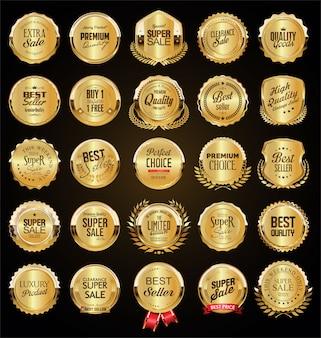 Wielka wyprzedaż kolekcja retro złote odznaki i etykiety