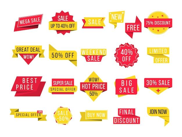 Wielka wyprzedaż, nowa oferta i najlepsza cena, rabat na banery promocyjne. zestaw plakietek promocyjnych i przywieszek sprzedażowych, nowoczesny do strony internetowej i reklamy. ilustracja,.