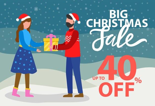 Wielka wyprzedaż świąteczna 40% zniżki na banner promocyjny