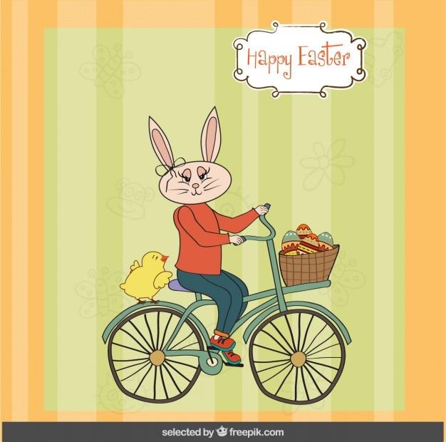 Wielkanoc karty z królika na rowerze