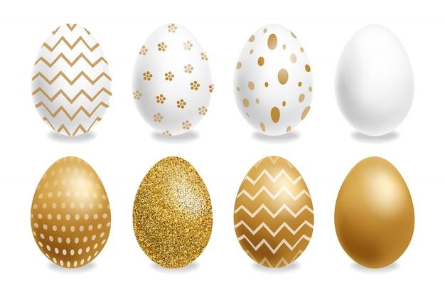 Wielkanoc malowane złote jajka