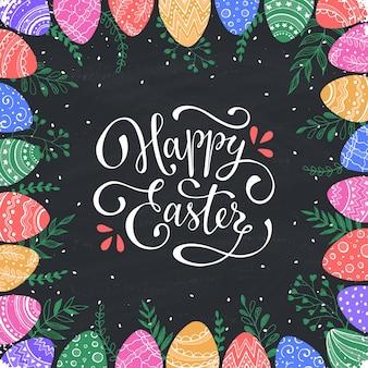 Wielkanoc ramki z ręcznie rysowane jaja wielkanocne
