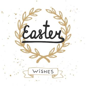 Wielkanoc życzenia elementów projektu typografii wektorowej