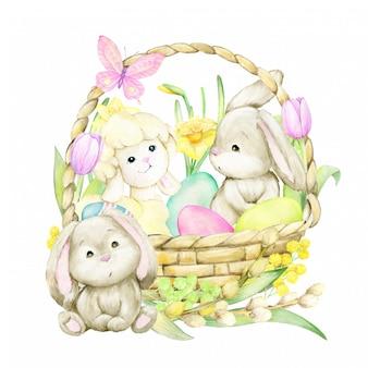 Wielkanocna akwarela ilustracja.