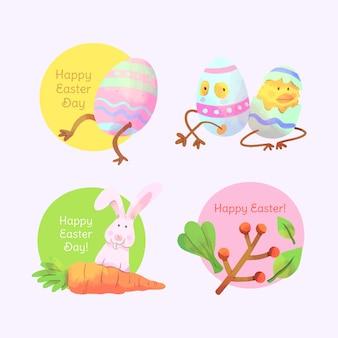 Wielkanocna akwareli etykietka ustawia jajka z nogami
