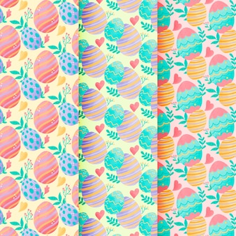 Wielkanocna bezszwowa deseniowa akwarela z kolorowymi jajkami