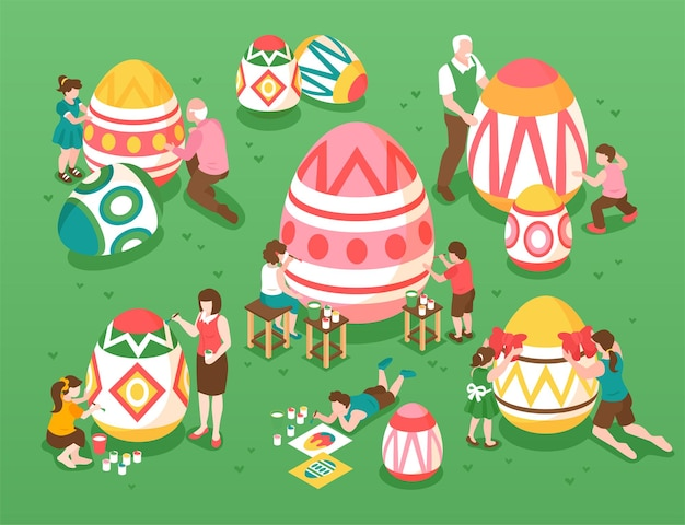 Wielkanocna ilustracja izometryczna z dziećmi i dorosłymi postaciami malującymi jajka