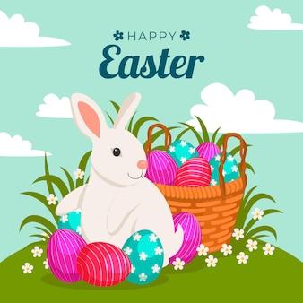 Wielkanocna ilustracja z jajkami w koszu i króliczkiem