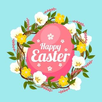 Wielkanocna ilustracja z jajkiem i kwiatami
