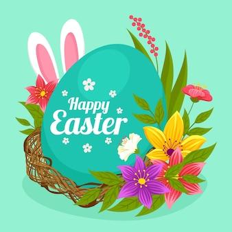 Wielkanocna ilustracja z jajkiem i uszami królika