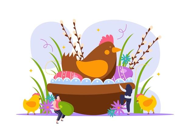 Wielkanocna ilustracja z kolorowymi jajkami, kurą i ludźmi