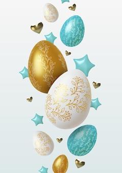 Wielkanocna ilustracja z realistycznymi złotymi, niebieskimi i białymi pisankami.