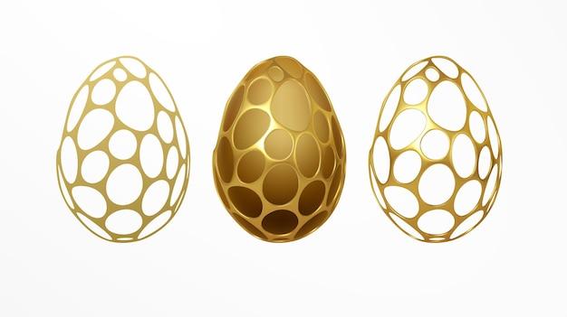 Wielkanocna kartka okolicznościowa z wizerunkiem pisanki w złotym organicznym realistycznym wzorze siatki 3d. ozdoba biżuterii. luksusowa ozdoba. ilustracja wektorowa eps10