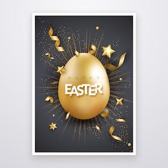Wielkanocna kartka z realistycznymi złotymi jajkami, tekstem, gwiazdkami, fajerwerkami i wstążkami.