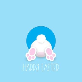 Wielkanocna kartka z życzeniami z cute zajączek będzie w otworze