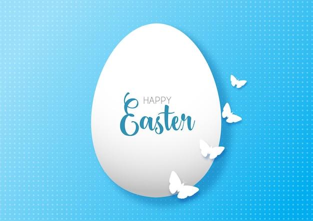 Wielkanocna kartka z życzeniami z jajkiem i motyle
