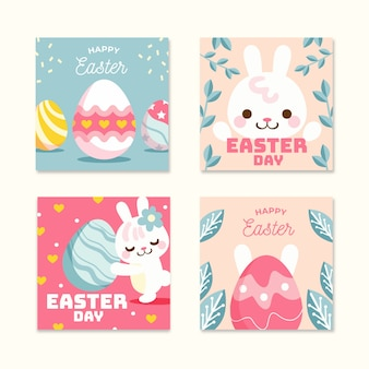 Wielkanocna kolekcja postów na instagramie z króliczkiem