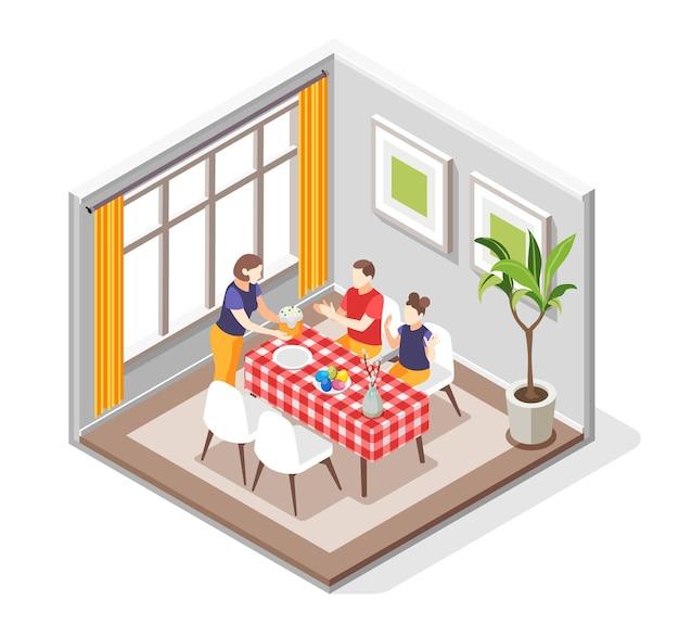 Wielkanocna kompozycja izometryczna z widokiem na jadalnię z członkami rodziny siedzącymi przy stole z ilustracją ciasta